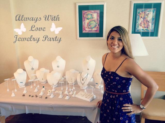 Adriana Lyden next to her  jewelry designs.