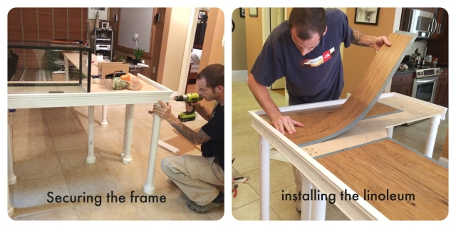 hubby building my tables