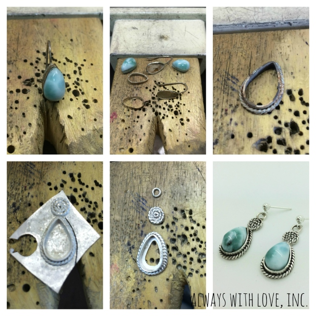 before and after larimar earrings