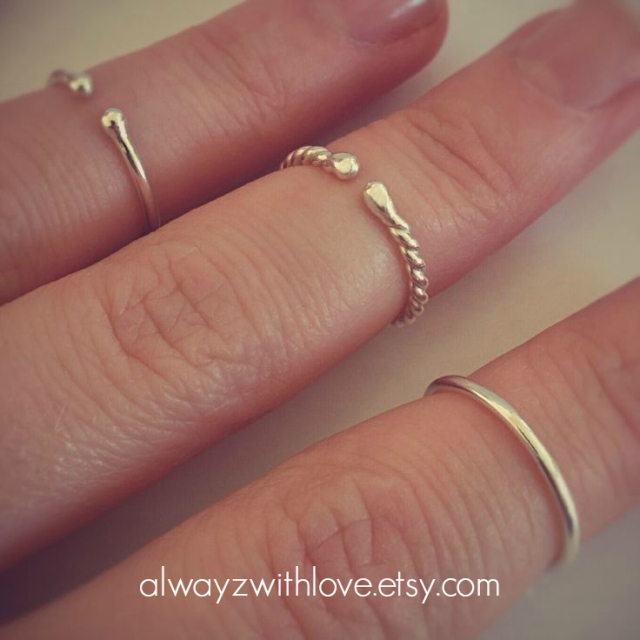 sterling silver midi stack rings