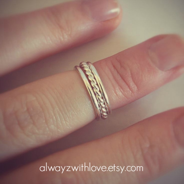 sterling silver stack rings by always with love